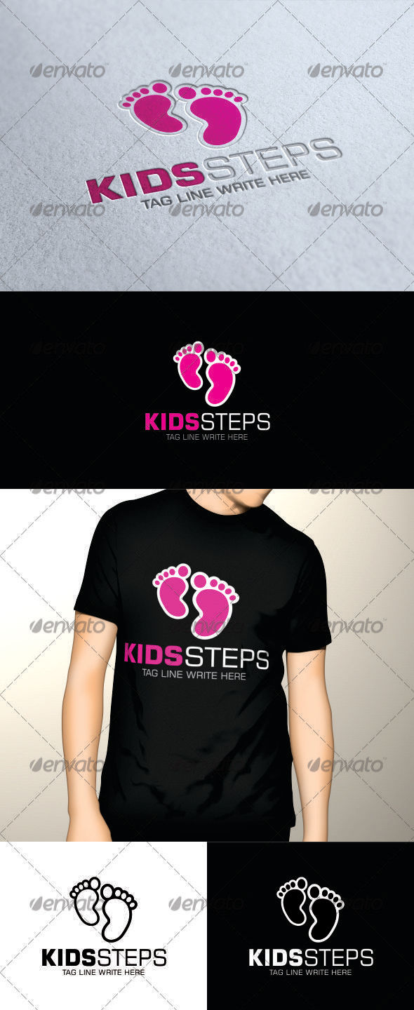GraphicRiver Kids Steps Logo 3385245