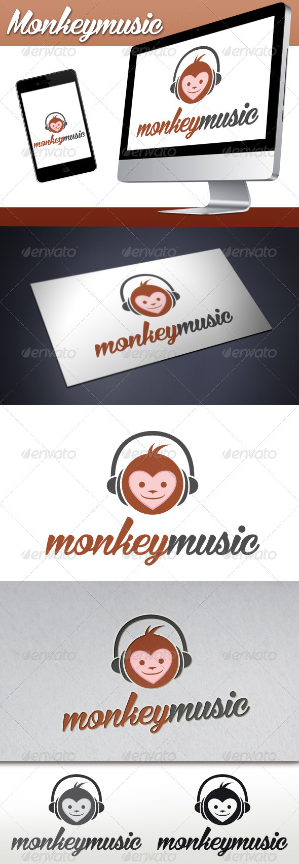 GraphicRiver Monkey Music Mascot Logo 3373595