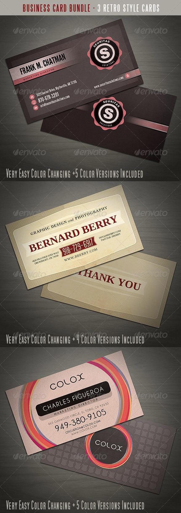 GraphicRiver Retro Business Card Bundle 3385963