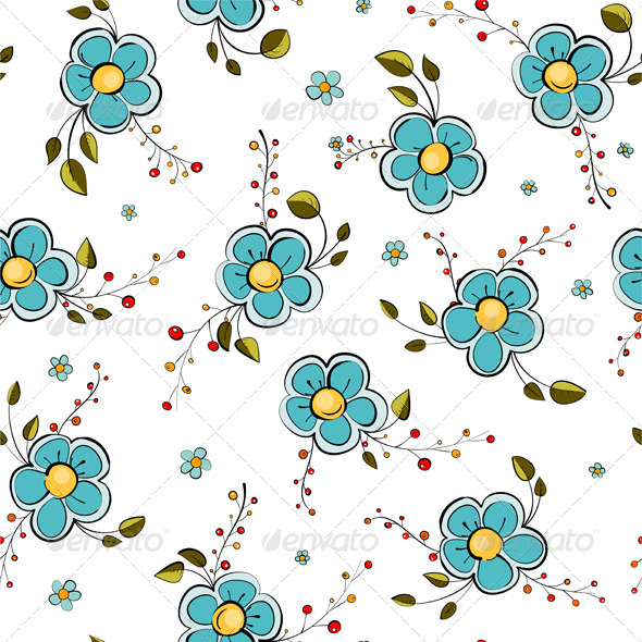 GraphicRiver Blue Flowers Seamless Pattern 3386444