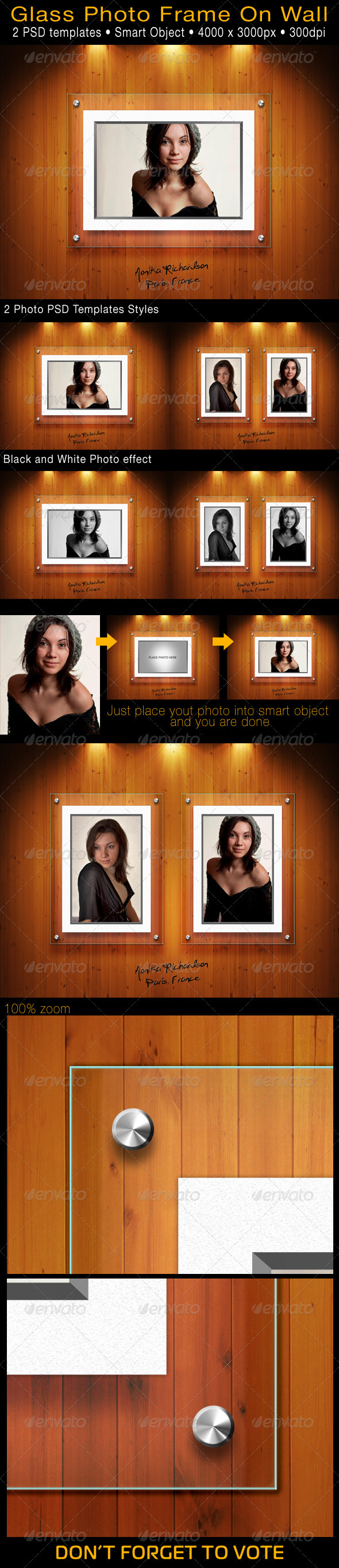 GraphicRiver Glass Photo Frame On Wall 3386593