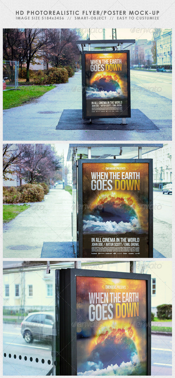 GraphicRiver HD Realistic Flyer Poster Mock-Up 3388509