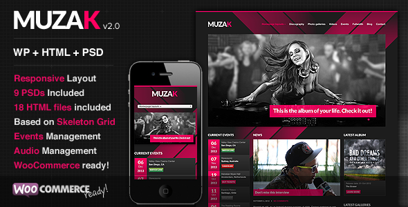 ThemeForest Muzak Music Premium WordPress theme 3160212