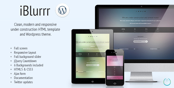 iBlurrr - Responsive Under Construction Template