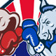 Democrat Donkey Republican Elephant Mascot Boxing  - GraphicRiver Item for Sale