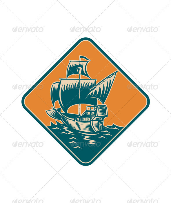 GraphicRiver Tall Sailing Ship Retro Woodcut 3392419