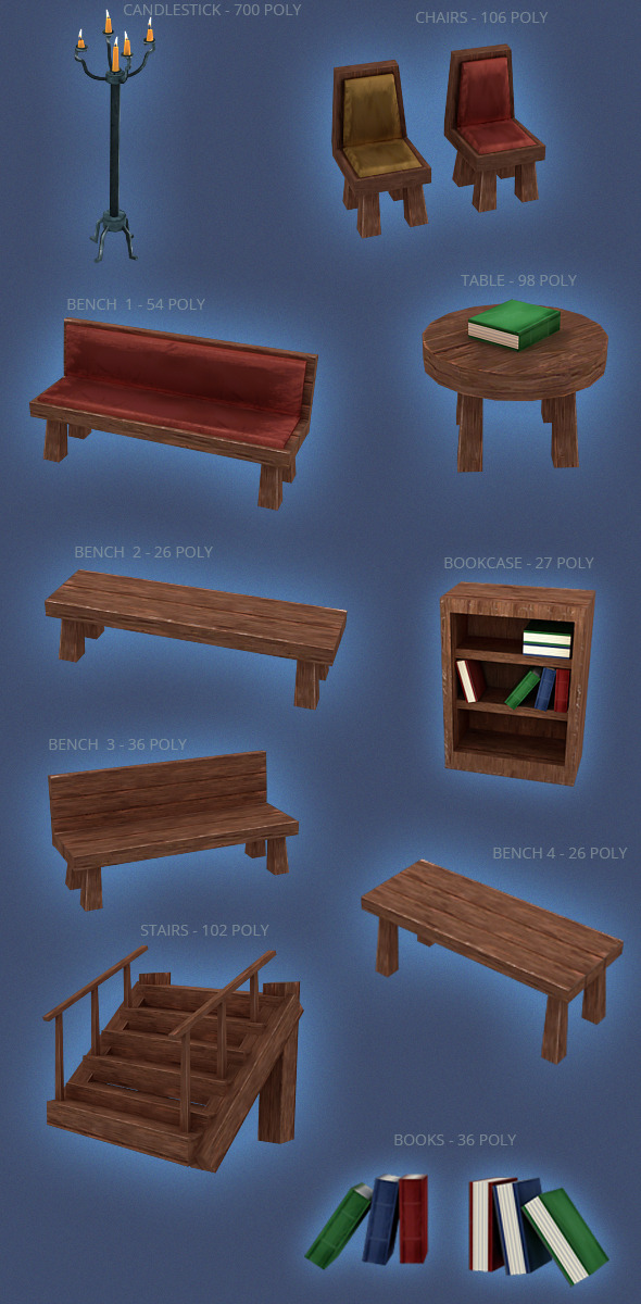 3DOcean Furniture LOW POLY PACK 3392641