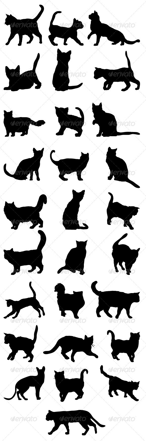 GraphicRiver Cats Silhouettes Big Pack 2 3393009