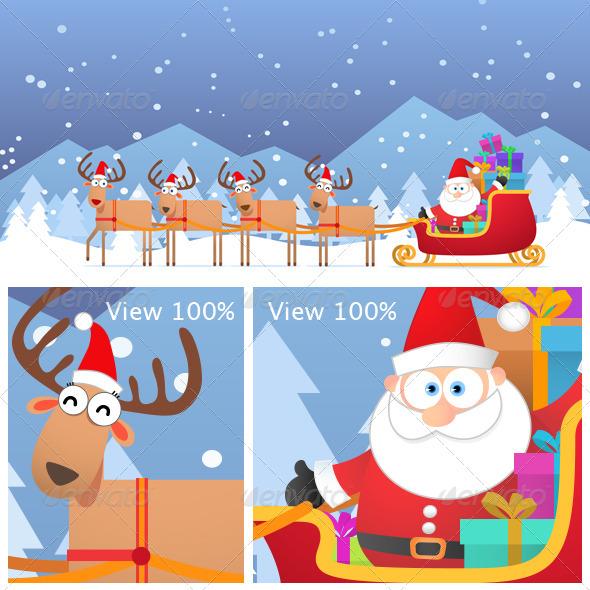GraphicRiver Santa and Christmas Reindeer on the Snow 3393091