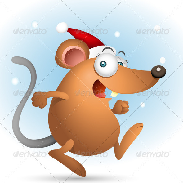 Happy Mouse with Santa Hat - Characters Illustrations