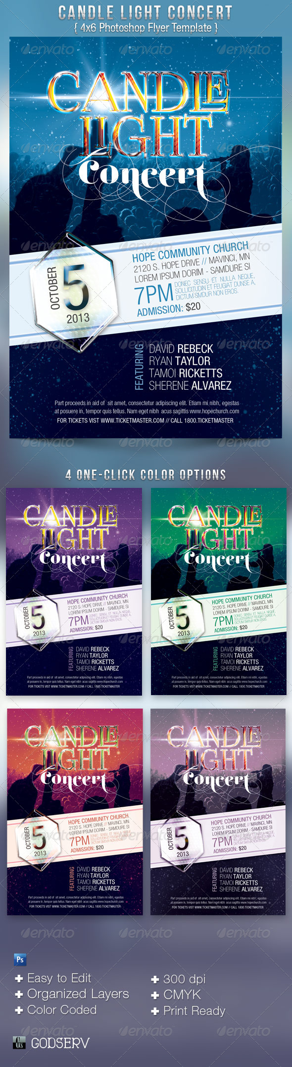 Candle Light Concert Flyer Templates - Church Flyers