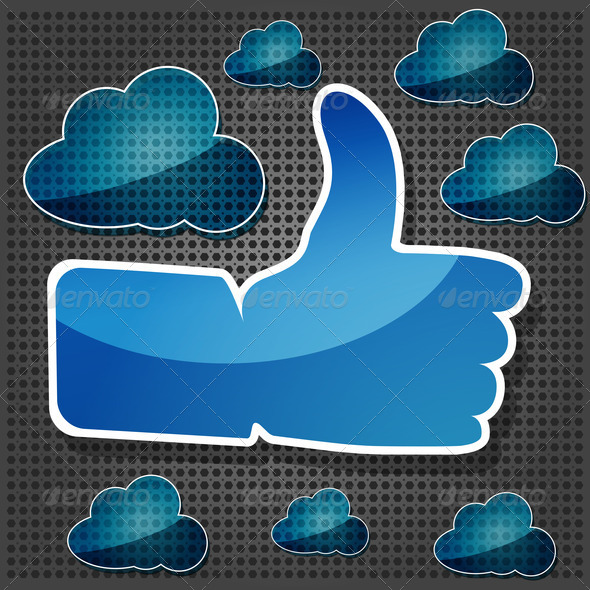 "blue ""Like"" symbol with transparency blue cloudss on the metallic - Stock Photo - Images"