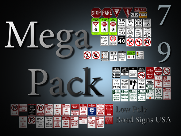 3DOcean 79 Low Poly Road Signs USA Mega Pack 3394185