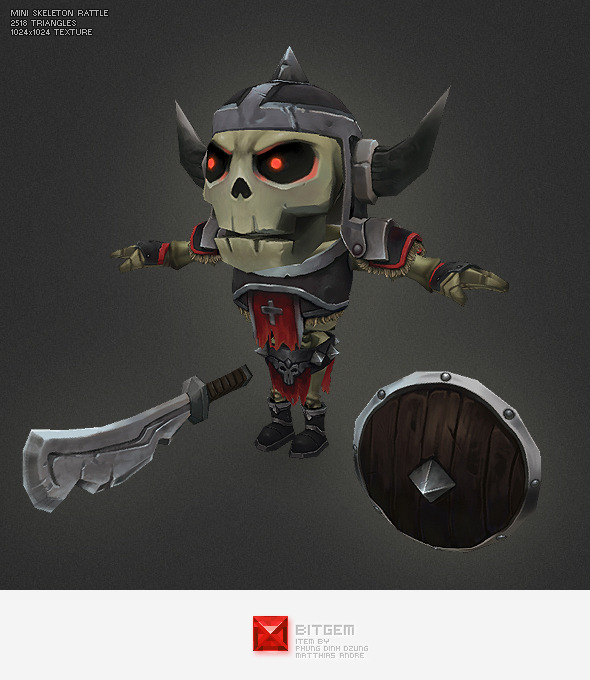 Low Poly Mini Skeleton Rattle - 3DOcean Item for Sale