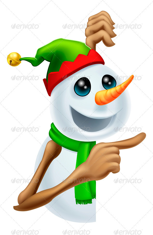 GraphicRiver Christmas Snowman Pointing 3395137