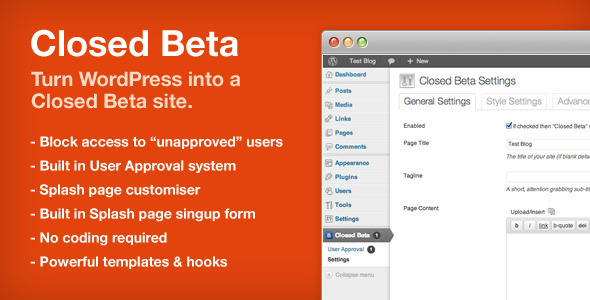 Closed Beta - WordPress Plugin - CodeCanyon Item for Sale