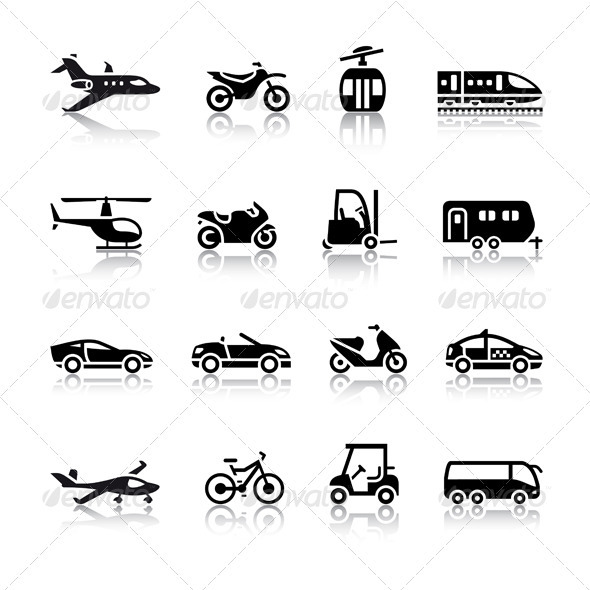 Set of Transport Icons - Web Elements Vectors