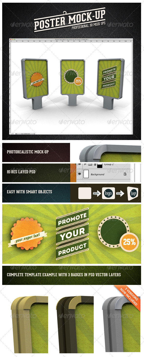 GraphicRiver Poster Sign Mock-Up 3281192