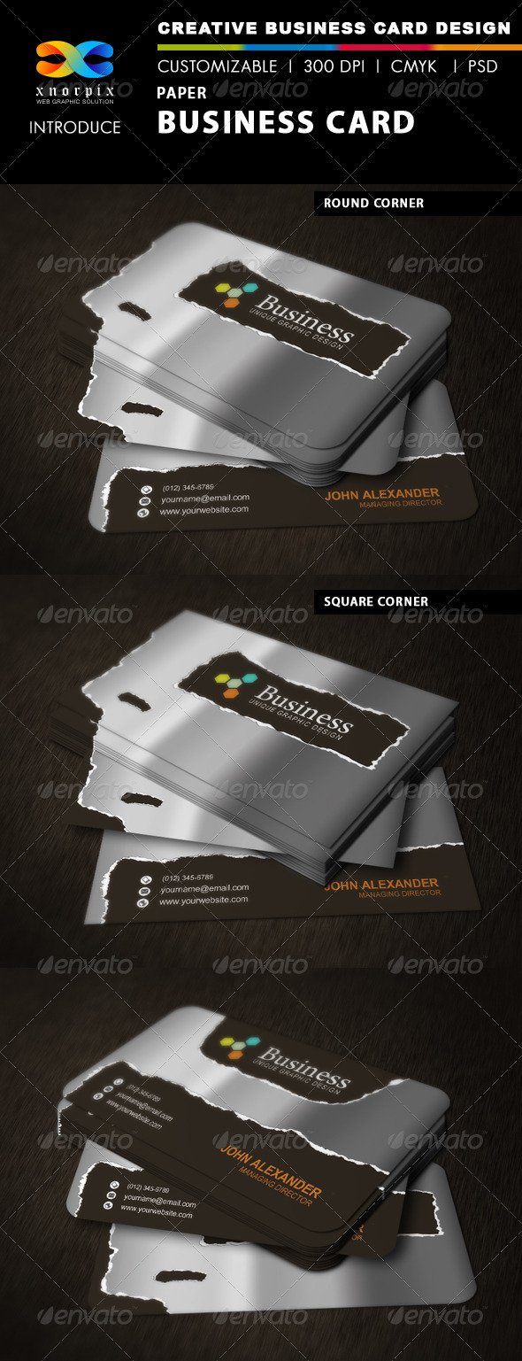 GraphicRiver Paper Business Card 3396989