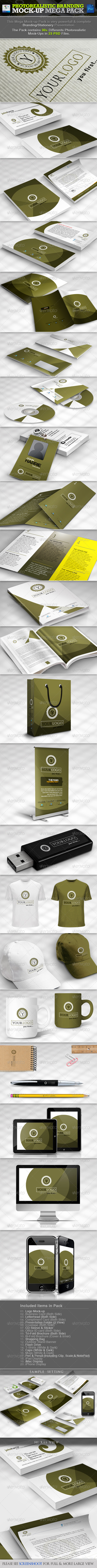 Photorealistic Branding Mock-up Mega Pack - Stationery Print