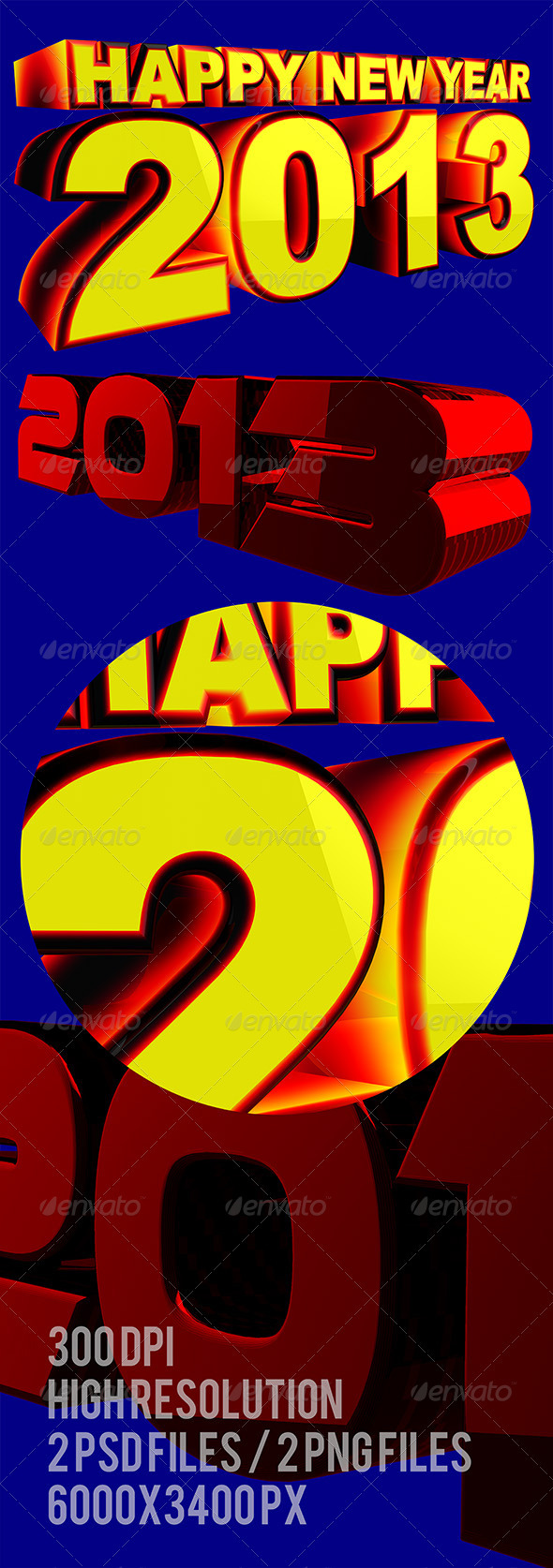 GraphicRiver Happy New Year 2013 3D Text Render 3399667