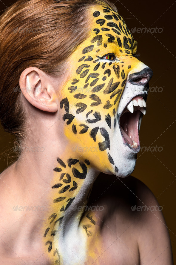 leopard girl - Stock Photo - Images