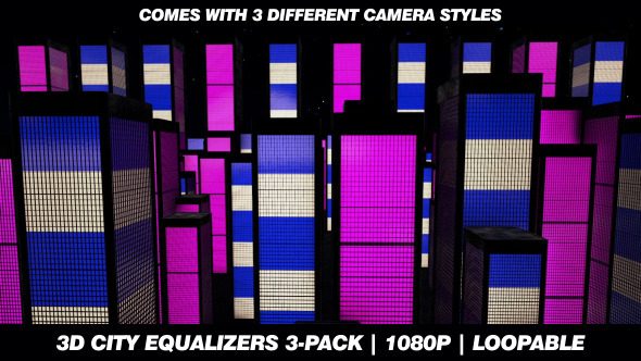 VideoHive 3D City Equalizers 3-Pack HD Animations 3400183