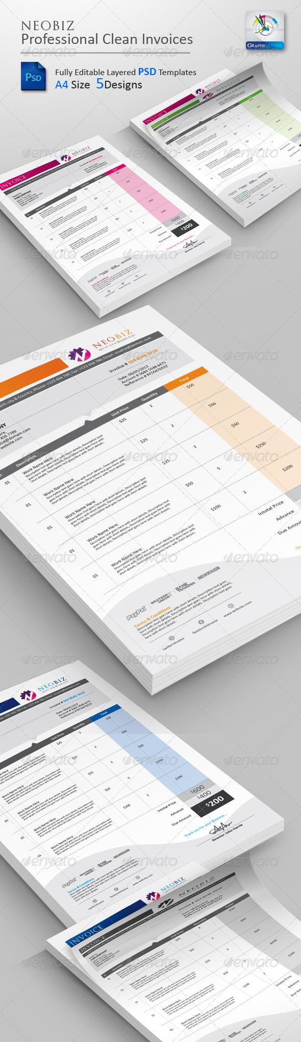 GraphicRiver NeoBiz Clean Invoice PSD Templates 3400217