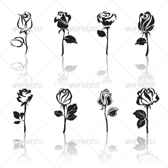 GraphicRiver Icon set of Roses with reflections 3400321