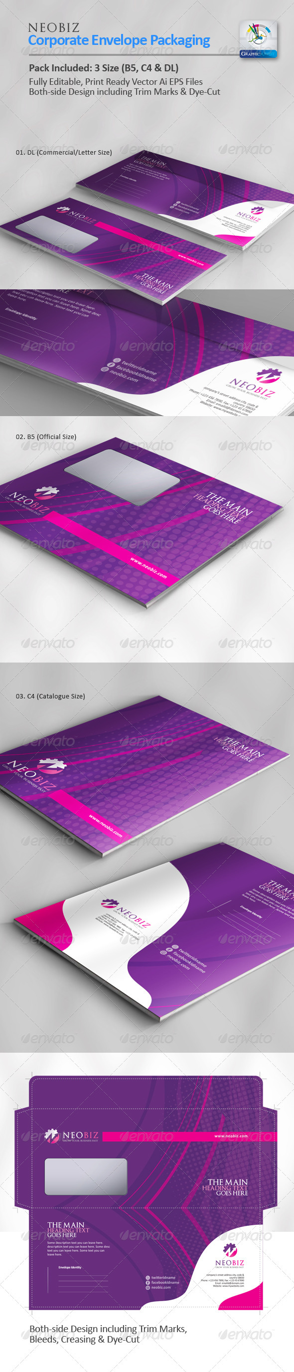 NeoBiz Corporate Envelope Pack - Packaging Print Templates