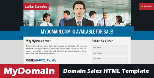 ThemeForest MyDomain Domain for sale HTML5 template 3396919