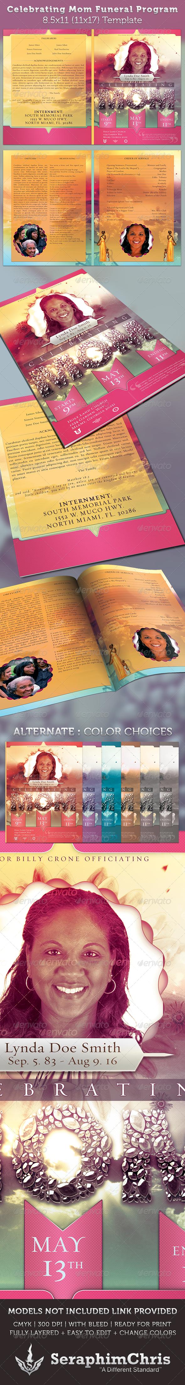 Celebrating Mom Funeral Program Template - Informational Brochures
