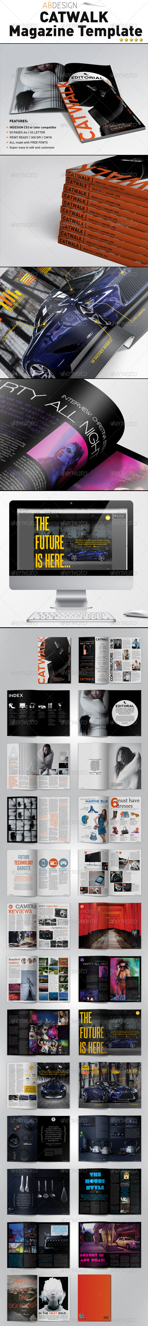 Catwalk Magazine Indesign Template - Magazines Print Templates