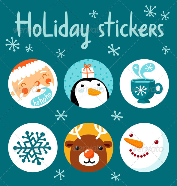 GraphicRiver Holiday Stickers 3401254