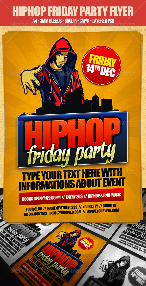 GraphicRiver Hip Hop Friday Flyer Template 3368898