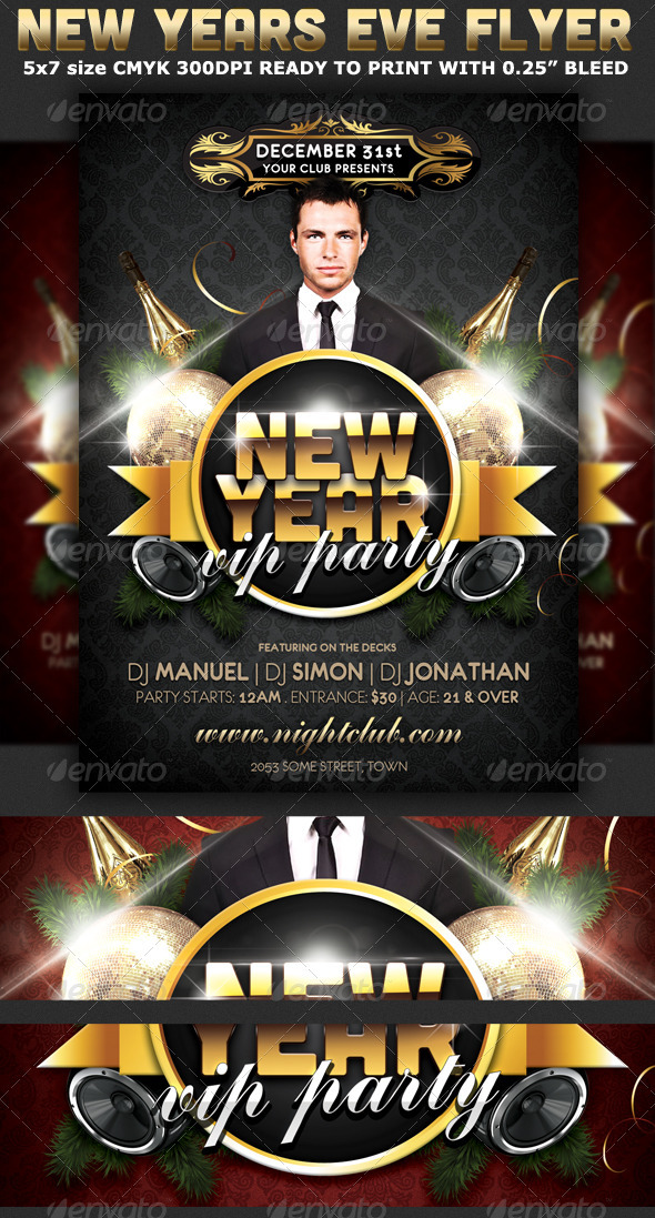 New Years Eve Vip Party Flyer Template - Clubs & Parties Events