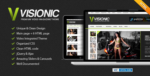 ThemeForest Visionic Video Magazine HTML Template 3375701