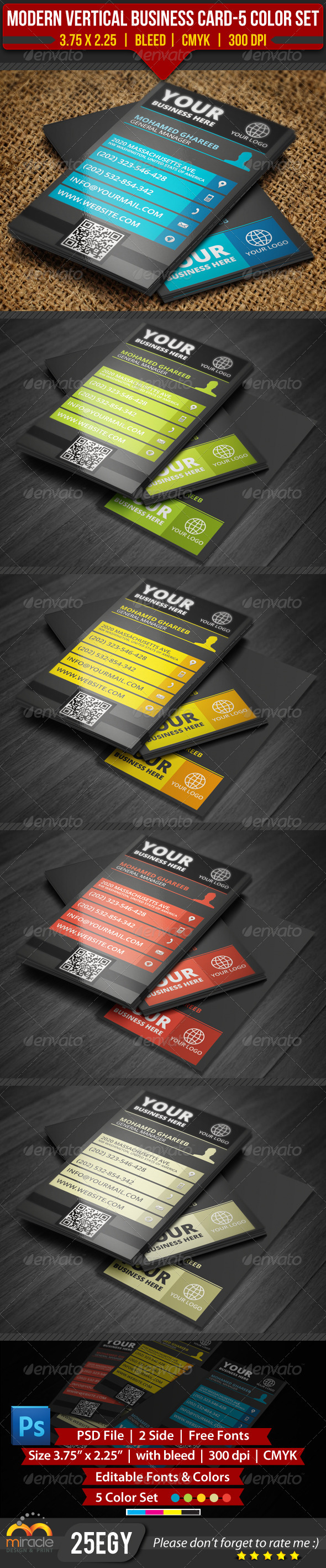 GraphicRiver Modern Vertical Business Card-5 Color Set 3402372