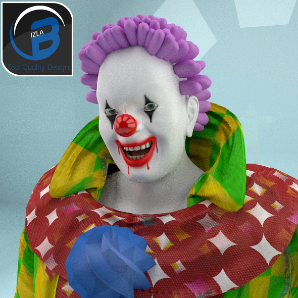 3DOcean Rigged Scary Toon Clown 3402428
