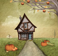 Autumnal country house - digital painted style - PhotoDune Item for Sale