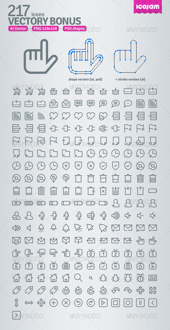 GraphicRiver 217 AI and PSD Bonus Outline Icons 3403694