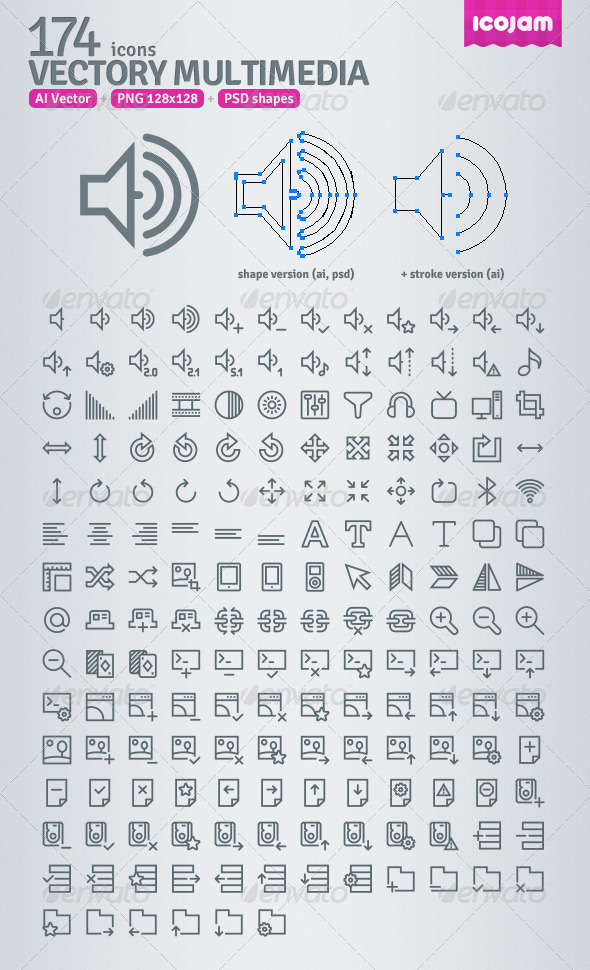 GraphicRiver 174 AI and PSD Multimedia Outline Icons 3403979