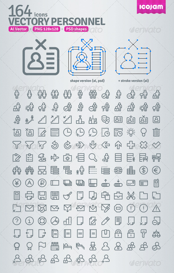 GraphicRiver 164 AI and PSD Personnel Outline Icons 3403991