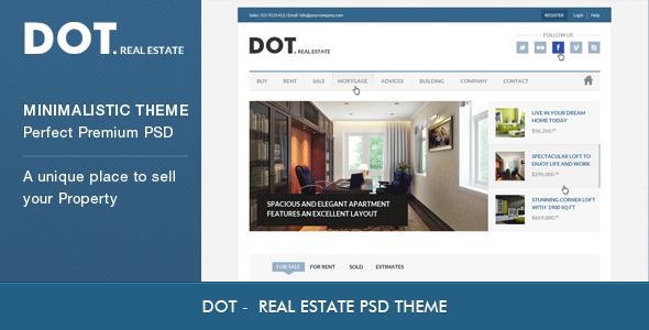 ThemeForest DOT Real Estate PSD Template PSD Templates Corporate Business 3226429