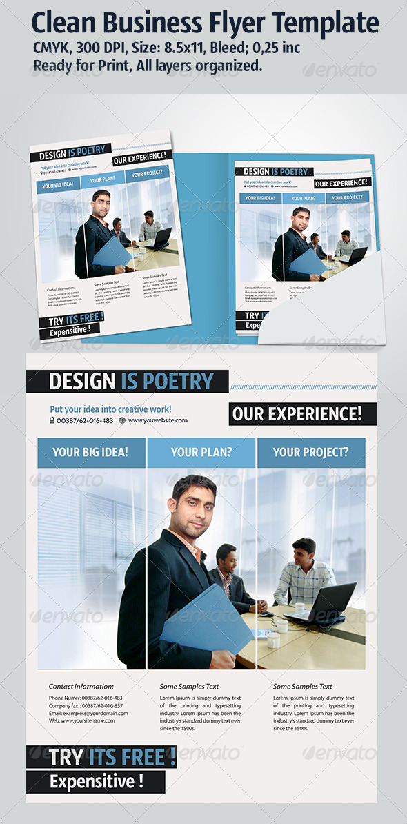 GraphicRiver Clean Business Flyer Template 3405362