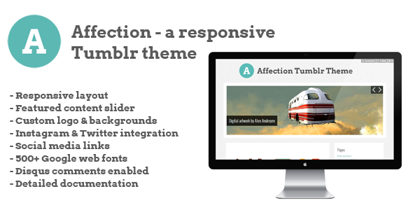ThemeForest Affection a responsive Tumblr theme 3370389