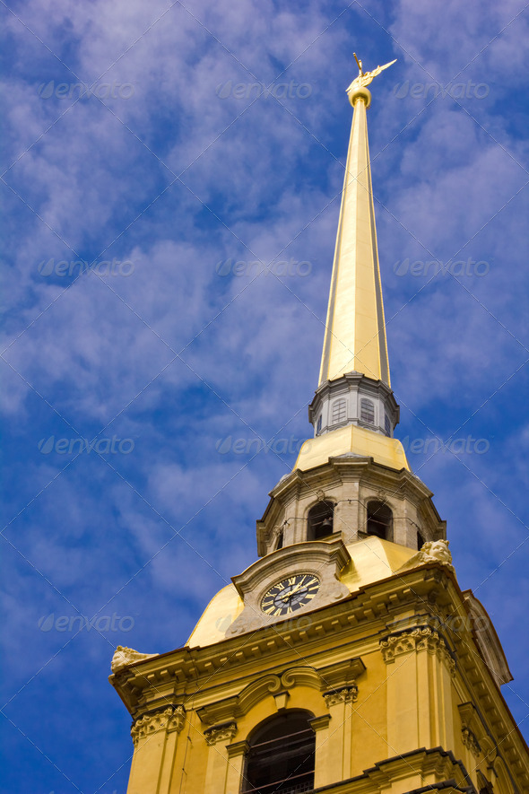 The spire of the Peter and Paul Sobor - Stock Photo - Images