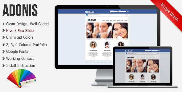 ThemeForest Adonis Premium Facebook Template 3405650