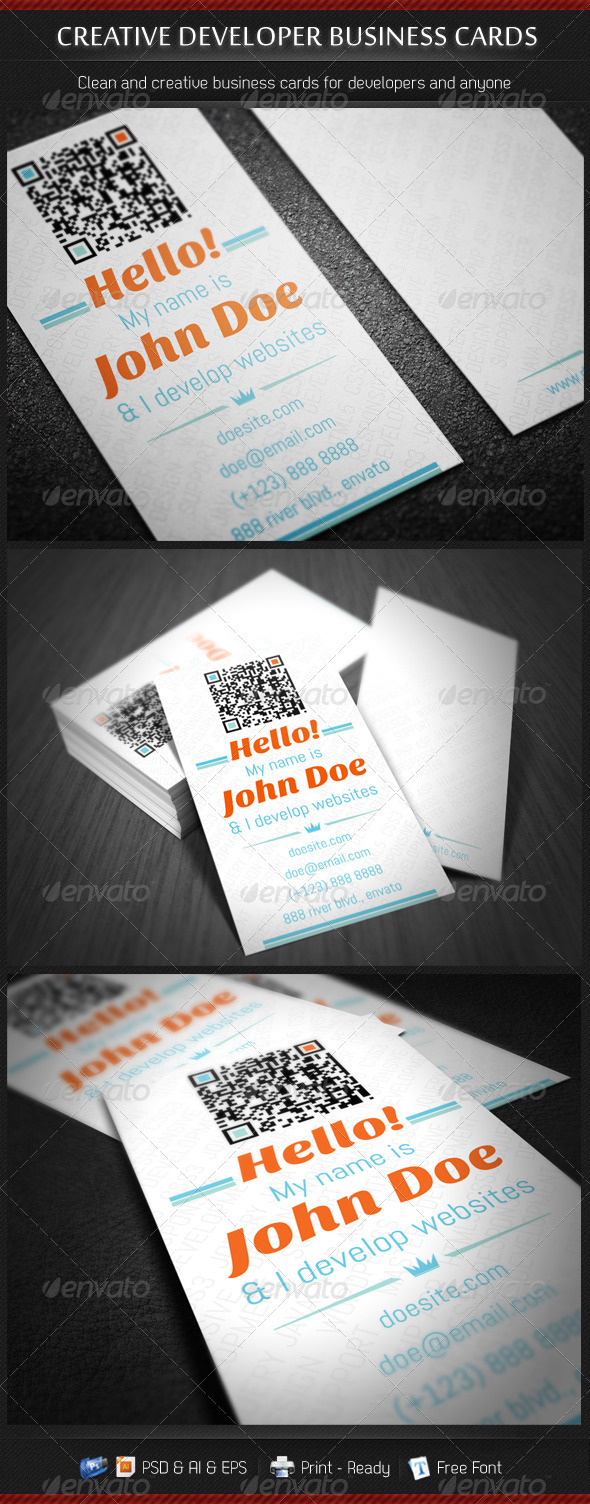 GraphicRiver Creative Developer Business Cards 3406124