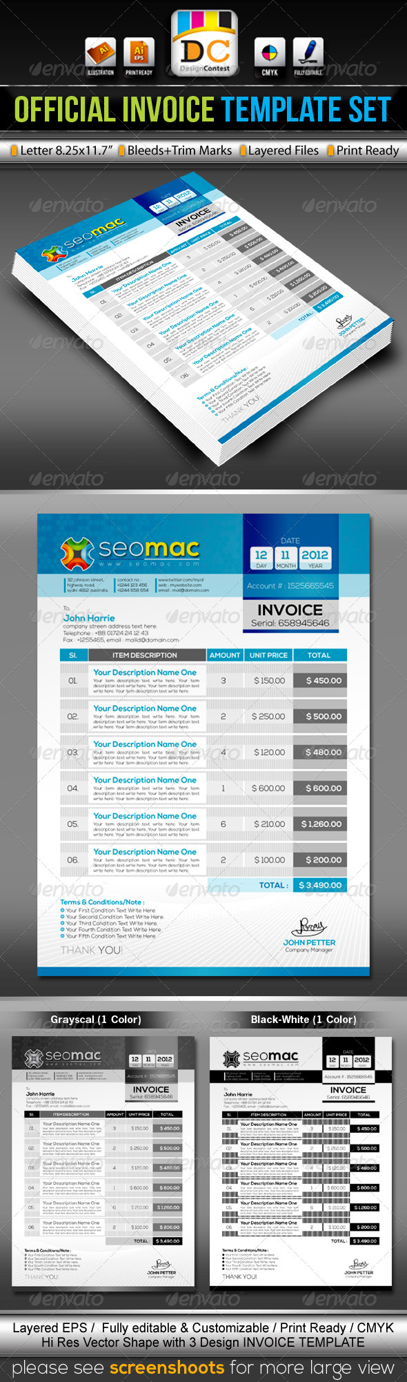 GraphicRiver SeoMac Official Invoice Cash Memo Template Set 3406268
